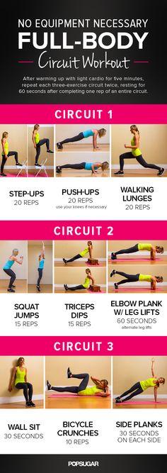 No equipment body-weight circuit from fitsugar.com