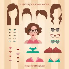 Create your own female avatar Free Vector