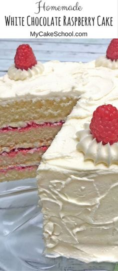 The BEST White Chocolate Raspberry Cake Recipe by MyCakeSchool.com! Super moist and flavorful!