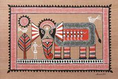 Folk art painting on wood ideas 32 Ideas Worli Painting, Mandala Painting, Mandala Art, Fabric Painting, Art Deco Logo, Hand Doodles, Indian Arts And Crafts, Picasso Art, Indian Folk Art