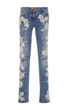 a0e71f300186c Destroyed denim pants with lace details by BLUMARINE for Preorder on Moda  Operandi Embellished Jeans