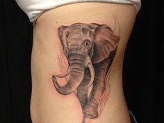 Beautiful Elephant Tattoos | The realistically shaded elephant looks like it will come to life, any ...