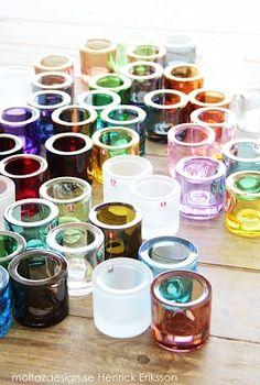 Iittala Kivi votives in various colors - Scandinavian Design Inside A House, Nordic Home, Nordic Style, Nordic Design, Marimekko, Scandinavian Design, Scandinavian Living, Glass Design, Candlesticks