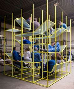 new and award-winning Buzzispace jung. -BuzziJungle- new and award-winning Buzzispace jung. - An interior of a warehouse. Working jonas van put buzzijungle for buzzispace biennale interieur kortrijk designboom dimensions for half court basketball Urban Furniture, Lounge Furniture, Furniture Design, Space Furniture, Contemporary Furniture, Office Furniture, Office Interior Design, Office Interiors, Office Space Design