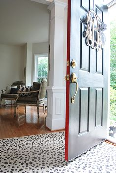 Front Door Makeover | Modern Masters Front Door Paint with both Elegant black on front and a peek of Ambitious red on side | Project by 11 Magnolia Lane