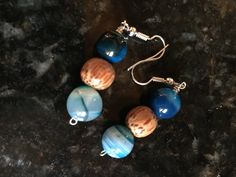Blue Agate and Coconut Bead Earrings by KainaluCreationsCo on Etsy