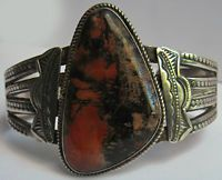 VINTAGE NAVAJO INDIAN SILVER BIG PETRIFIED WOOD AGATE CUFF BRACELET