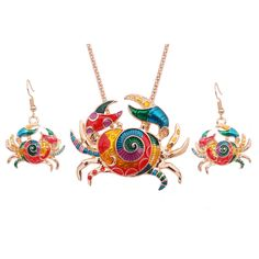 Gothic Enamel Crab Jewelry Set Gold Crab Statement  Necklace Earings Set For Women