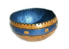Rustic Gourd Bowl Metallic Blue Gourd Bowl by myladyofgourds, $55.00