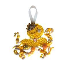 Yellow Octopus Vintage Seashells by TheMermaidsBox on Etsy