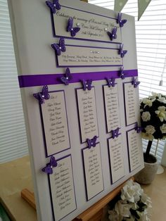 Purple Butterfly Wedding Seating Plan by WhiteCottageWedding Royal Purple Wedding, Purple Wedding Favors, Rustic Purple Wedding, Butterfly Wedding Theme, Butterfly Wedding Invitations, Blue Wedding Centerpieces, Cheap Wedding Invitations, Trendy Wedding, Seating Plan Wedding