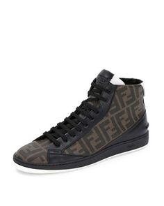 Zucca High-Top Leather Sneaker, Brown/Black by Fendi at Bergdorf Goodman.