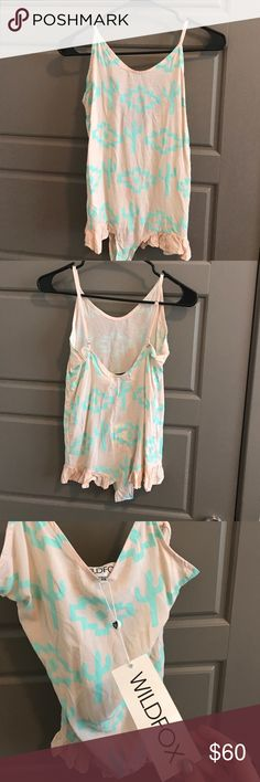 NWT WILDFOX intimates romper Pale pink & mint green cactus design romper Xs Wildfox Intimates & Sleepwear