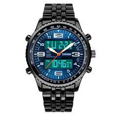 TTLIFE 1032 im Freien Männer Sportuhren Anzeige zweier Zeitzonen Armbanduhren Male 50m Wasserdicht (Blau) - http://uhr.haus/skmei-12/blau-ttlife-1032-im-freien-maenner-sportuhren-50m