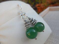 Green Jade Gemstone Dangle Earrings by DaniJessBoutique on Etsy