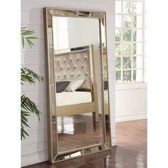 Aldina Golden-Beaded Floor Mirror | Floor mirror, Beads and Wood ...