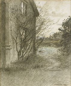 Nils Kreuger (Swedish, 1858-1930), Garden and House, 1893. Crayon on paper, 59 x 48 cm.