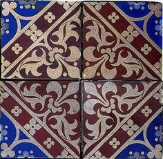 The Textile Blog's buddy icon 	  1850s   tile and mosaic design Augustus Welby Northmore Pugin 1850    Ceramic tile design by A W N Pugin, produced in 1850.