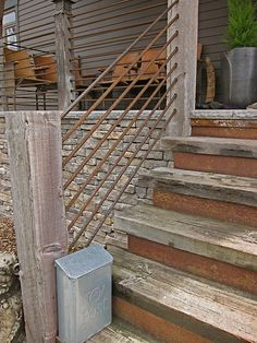rebar/ Using it as a hand rail/ fence