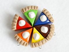 Polymer Clay Pie Charms Set of 6 Charms by Emariecreations on Etsy