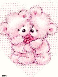 2 FUZZY PINK TEDDY BEARS