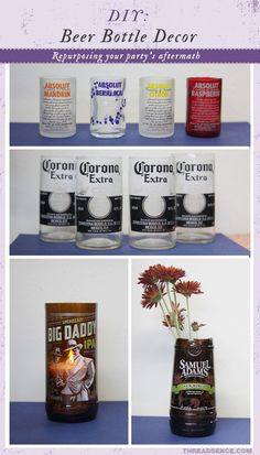 Recycle bottles into shot glasses, cups, vases, and more! This method sounds like it would work better than the yarn and fire trick Alcohol Bottles, Bottles And Jars, Glass Bottles, Alcohol Glasses, Beer Bottles, Mini Bottles, Wine Bottle Crafts, Bottle Art, Diy Bottle