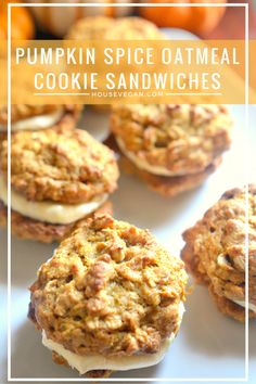 Pumpkin Spice Oatmeal Cookie Sandwiches - These vegan pumpkin sandwich cookies are a wonderful fall treat. Perfect for weeknight desserts, or treats for a vegan Halloween. Click here for the recipe!