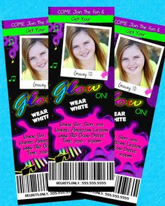 GLOW in the dark Invitation BIRTHDAY Dance Party Invite TICKETS Neon Printable Photo Personalized Girls, Boys, Teens, Kids or Adults Custom. $14.98