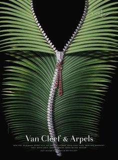"Van Cleef & Arpels Diamond Zipper Necklace from the Zip Collection. ""ZIP"" Print Ad  by Avrett Free Ginsberg (=)"