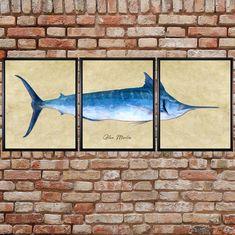 Blue Marlin Print Set Of 3 Fish Print Marlin Poster Gifts   Etsy 3 Fish, Blue Marlin, Fish Print, Fishing Gifts, Impressionism, Fine Art Prints, Moose Art, Frames, Stock Photos