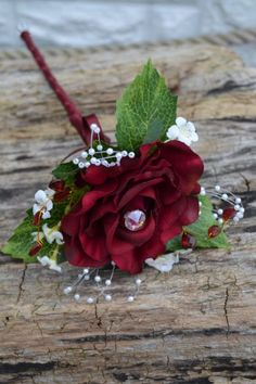 Wedding Bridesmaid,Flower girl wand, Deep red rose