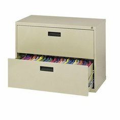 """400 Series Lateral File Cabinets Size / Color: 53"""" H x 30"""" W x 18"""" D / Dove Gray by Sandusky Cabinets. $394.99. E204L-05 Size / Color: 53"""" H x 30"""" W x 18"""" D / Dove Gray Features: -Lateral file cabinet.-100pct drawer extension on genuine progressive telescoping ball-bearing slides provide smooth trouble free operation.-Built-in drawer interlock system prevents more than one drawer from opening at a time, reducing the chance of cabinet tip over.-Single lock system..."""
