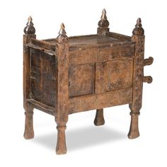 A 19th Century carved softwood dowry chest, Swat Valley, Pakistan