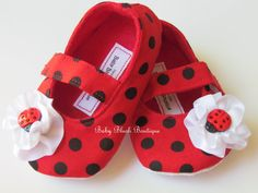 Ladybug Red & Black Polka Dot Baby Shoes Soft by babyblushboutique, $22.00