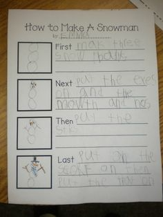 Writing - Elementary - Procedural writing. This really helps our students understand how to write a paragraph explaining the next step. They work really well after they have drawn the picture. The visual of the picture is extremely helpful and helps them picture the steps in their minds. Found on pinterest.