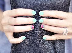 Love the ombre, would change the turquoise to a softer shade, or even darker... not so BRIGHT and BLUE lol. #ombre #pinterest #nailart
