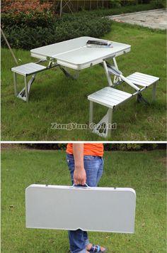 Folding Portable Aluminium Alloy Picnic Chair and Table Set