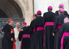 U.S. Cardinal Raymond Leo Burke, left, stands by Pope Francis saluting bishops, at the end of weekly... - AP Photo/Alessandra Tarantino