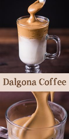 DALGONA COFFEE (FROTHY COFFEE) Dalgona coffee is a viral frosty coffee from South Korea. It's like reversed cappuccino because we use milk as the base then add whipped coffee on the top. Coffee Drink Recipes, Drinks Alcohol Recipes, Coffee Drinks, Dessert Recipes, Desserts, Refreshing Drinks, Fun Drinks, Yummy Drinks, Beverages