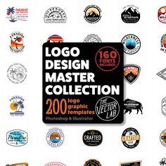 Logo Design Master Collection for Illustrator & Photoshop Logos Vintage, Logos Retro, Vintage Logo Design, Modern Logo Design, Hipster Design, Hipster Logo, Diy Design, Design Art, Poster Sport