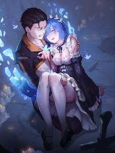 blood cleavage maid natsuki_subaru re_zero_kara_hajimeru_isekai_seikatsu rem_(re_zero) thighhighs tiger_205 torn_clothes