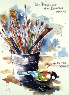 BB-Aquarelle: Petit bazar / Some of the mess on my working desk