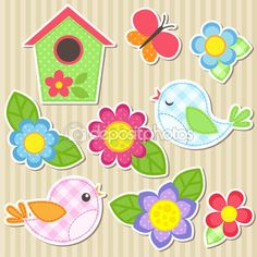 Conjunto de flores e pássaros — Ilustração de Stock #76939675