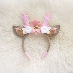 Deer Antler Crown Headband // pink, blush, and white boho felt flower crown