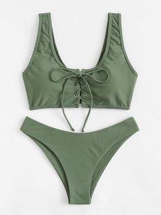 b1dfde55eb Lace-Up Bikini Set. Romwe SwimwearBikini SwimwearHigh Leg ...