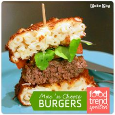 The Mac Attack burger, with a bun made of deep fried macaroni cheese, caused such a stir in Chicago it made TV news. Here's how to make your own! Fried Macaroni And Cheese, Mac And Cheese Burger, Food Trends, Cheese Recipes, Burger Fresh, Hamburger, Sandwiches, Living Magazine, Beef