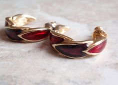 Purple Red Enameled Post Earrings Unsigned Hoop Type Leaf Motif Gold Tone Vintage Estate