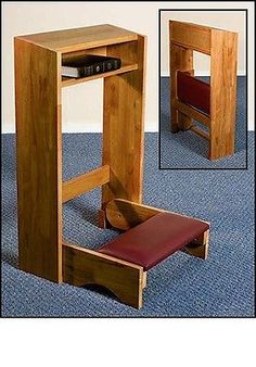 PECAN-STAIN-FOLDING-CHURCH-PRAYER-KNEELER-HANDCRAFTED-SOLID-MAPLE-PRIE-DIEU