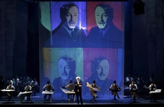 """In the course of """"The Perfect American,"""" artist Andy Warhol, portrayed by John Easterlin, center, visits Walt Disney to express admiration for Disney's work. The opera, with music by Philip Glass, continues through Feb. 6 at Teatro Real in Madrid."""
