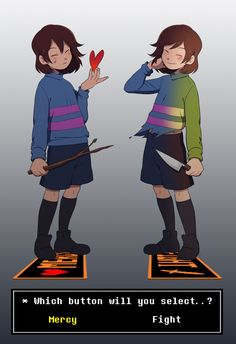 Art by guppy--17 (Tumblr) Chara and Frisk from Undertale